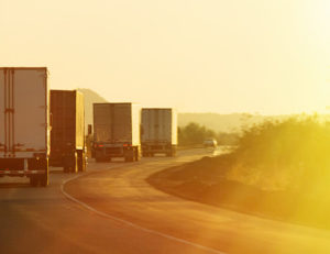 truck convoy sunrise